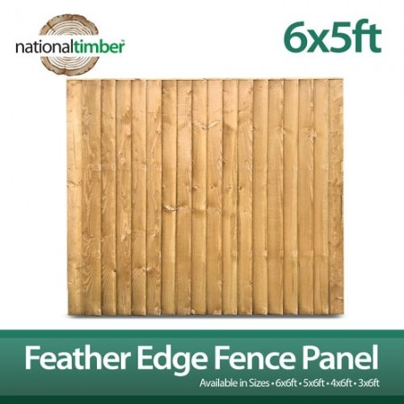 Featheredge Closeboard Fence Panel 6ft x 5ft