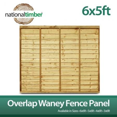 Overlap Waney Fence Panel 6ft x 5ft
