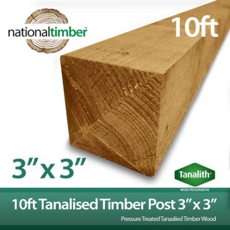 """Tanalised Treated Timber Fence Post 10ft x 3"""" x 3"""""""