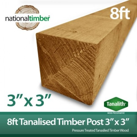 "8ft x 3"" x 3"" Tanalised Treated Timber Fence Post"