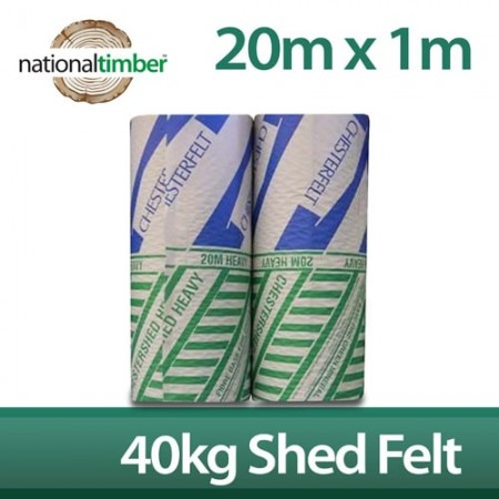 20m x 1m Chesterfelt Heavy Green Mineral Roofing Felt