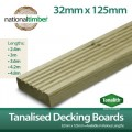 Pressure Tanalised Decking Boards 125mm x 32mm x 3600m