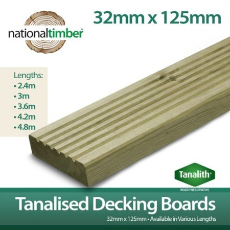 Pressure Treated Tanalised Decking Boards 125mm x 32mm x 3000m