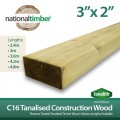 C16 Construction Timber Tanalised Structural Wood 3x2 at 3m