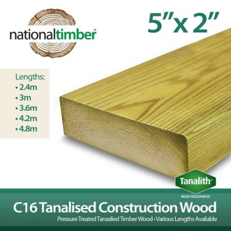 C16 Treated Tanalised Timber Structural Studwork 5x2 at 3.6m