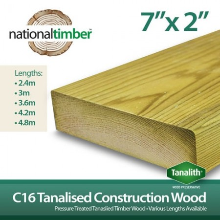 C16 Treated Tanalised Timber Structural Studwork 7x2 at 3.6m
