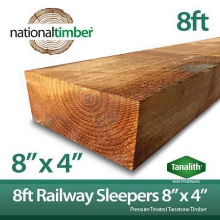 "Pressure Treated Railway Sleepers 8ft x 8"" x 4"""