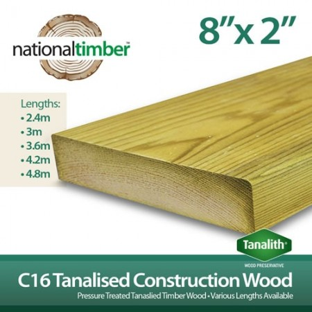 C16 Treated Tanalised Timber Structural Studwork 8x2 at 3.6m