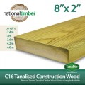 C16 Treated Tanalised Timber Structural Studwork 8x2 at 3m