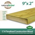 C16 Treated Tanalised Timber Structural Studwork 9x2 at 3.6m