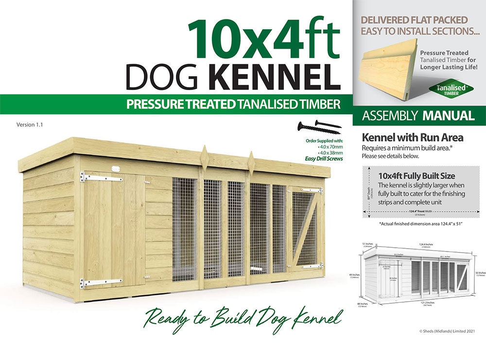 10ft x 4ft Dog Kennel assembly guide