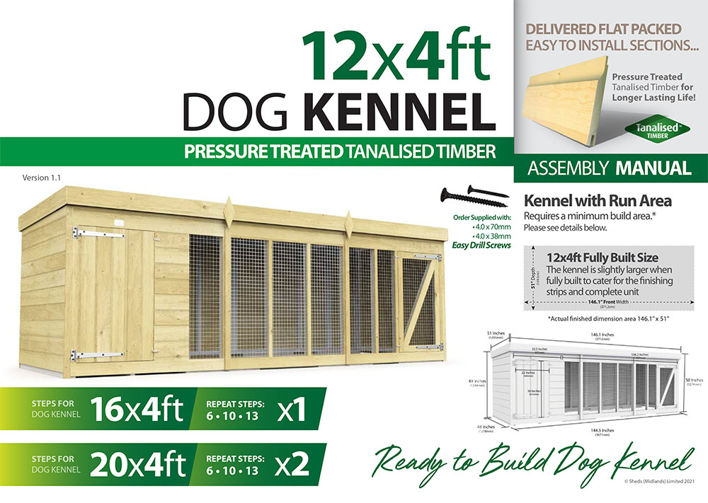 12ft x 4ft Dog Kennel assembly guide