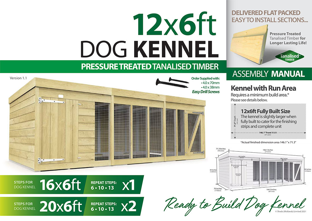 12ft x 6ft Dog Kennel assembly guide