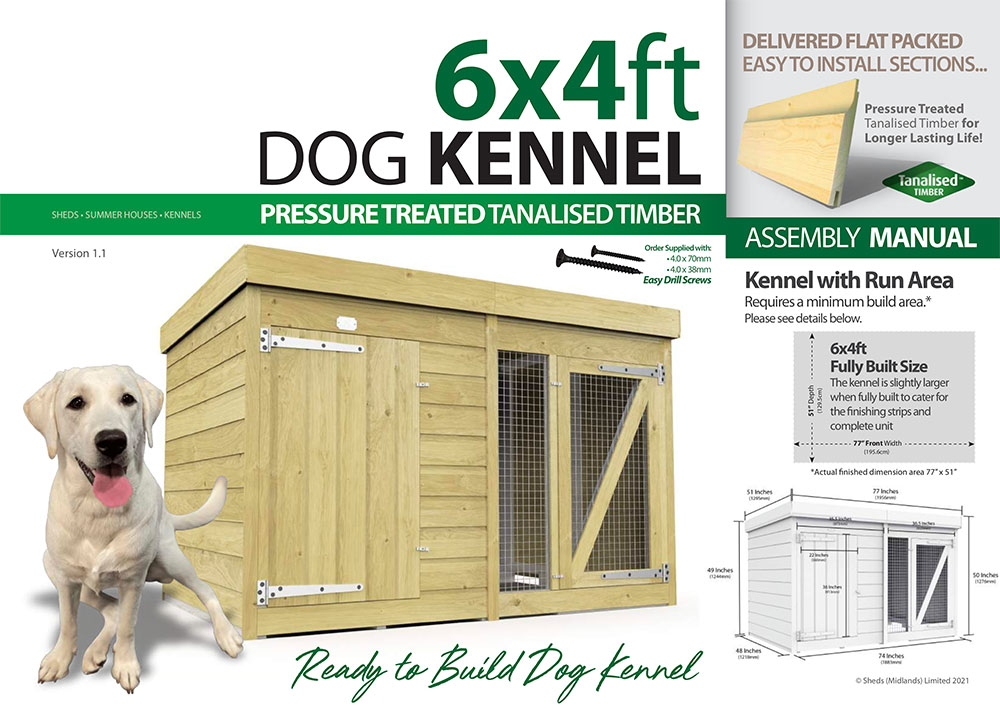 6ft x 4ft Dog Kennel assembly guide