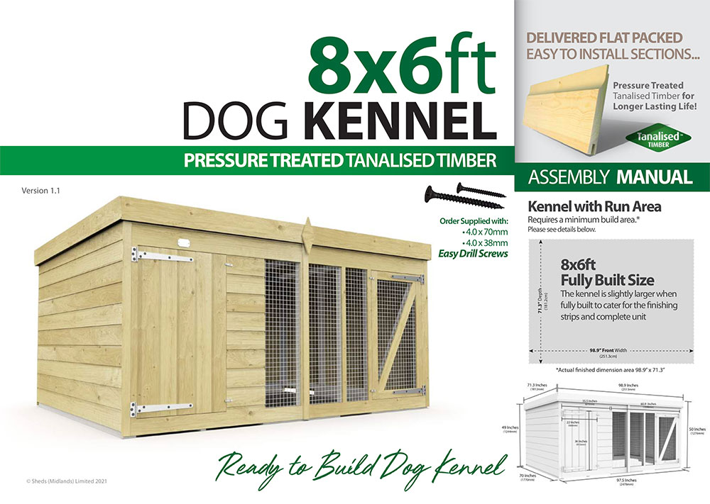 8ft x 6ft Dog Kennel assembly guide